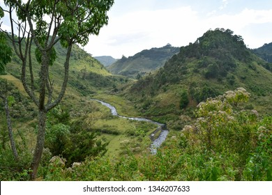 River against a mountain background, Chania River in Aberdare Ranges, Kenya