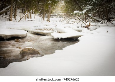 A river, almost frozen over during the winter months.