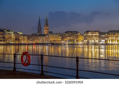 River Alster in Hamburg in the evening