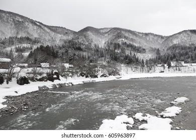 The river in an ancient village in Shirakawago in Japan