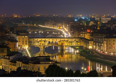 River Arno and famous bridge Ponte Vecchio at night from Piazzale Michelangelo in Florence, Tuscany, Italy
