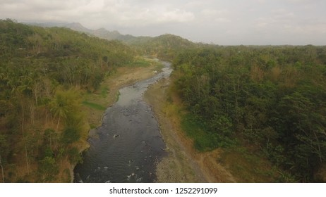 river in asia among palm trees, farmland and jungle. aerial view river in tropics flowing among farmlands with growing crops, tropical forest. rural landscape in Asia farmlands, fields with crops
