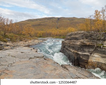 River in autumn. Abisko national park in Sweden.