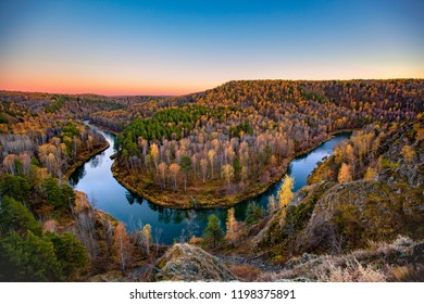 the river in autumn forest