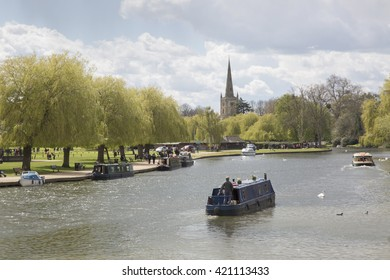 River Avon with Canal Barge, Stratford Upon Avon, England, UK