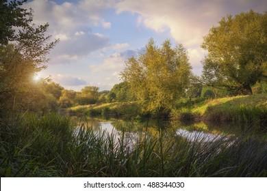 River Avon at dusk, Welford on Avon, Stratford upon Avon, Warwickshire, England