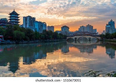 The river band view of downtown Chengdu, including An Shun Lang Qiao and He Jiang Ting.