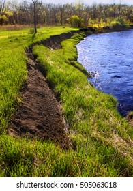 River bank erosion often occurs along meander bends such as this one at Lib Conservation Area in northern Illinois