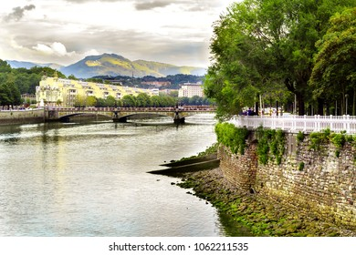 River bank in San Sebastian town, Basque Country, France