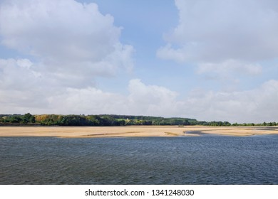 River and beach on a panorama