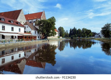 River behind the Church of Presentation of Virgin Mary in Ceske Budejovice, Czech Republic