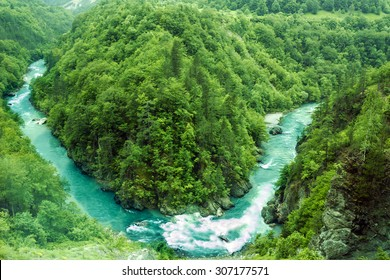 River bend, Montenegro,.natural landscape, mountain river Tara
