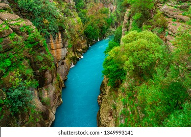 River between canyon and forest. Manavgat, Antalya, Turkey. Rafting tourism.