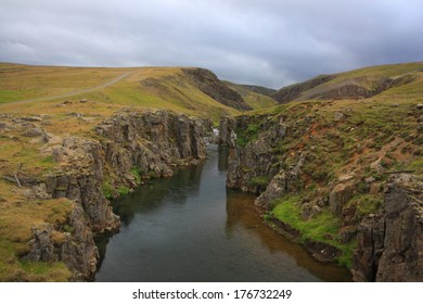 River between the rocky hills