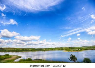 river and blue sky. summer landscape