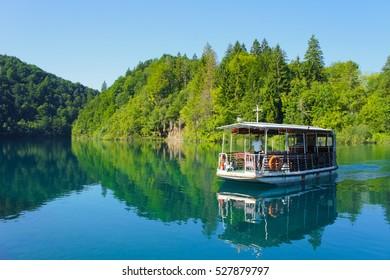 River boat at Plitvice Lakes National Park, Croatia.