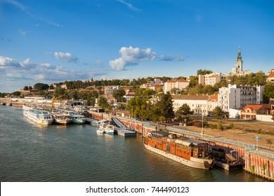 River boats and barges (splavs) along the Sava River, Belgrade, Serbia