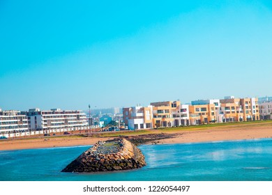 River Bou Regreg seafront and Kasbah in medina of Rabat, Morocco. Rabat is the capital of Morocco. Rabat is located on the Atlantic Ocean at the mouth of the river Bou Regreg : 19 April 2018.