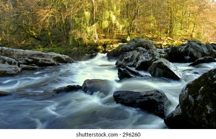 River Braan falls at the Hermitage,Scotland
