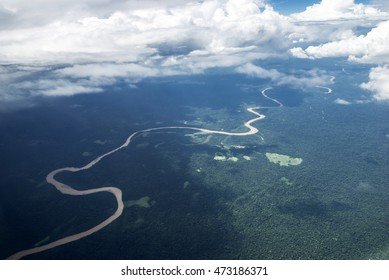 River in the Brazilian Amazon rainflorest from the air