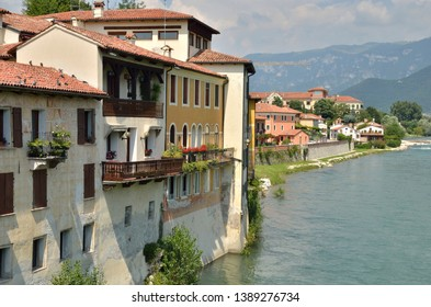 River Brenta at the city of Bassano del Grappa next to the river Brenta, northern Italy