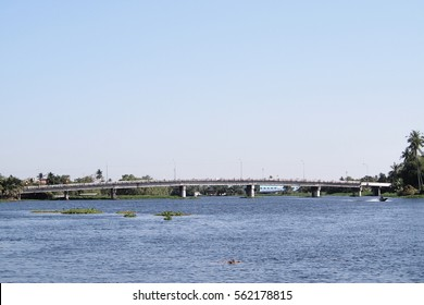 River Bridge with Blue Sky and Beautiful Background