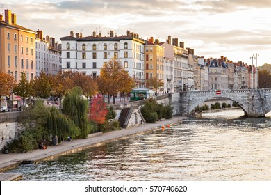 River and bridge in a city in Lyon, France