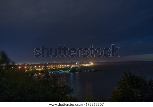 River and bridge in the night
