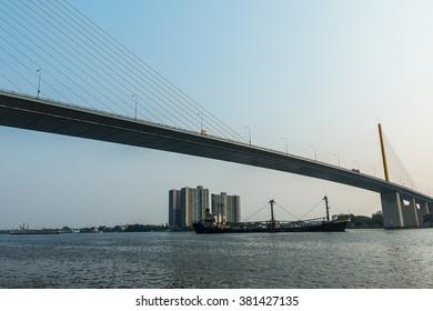 River Bridge View of a long bridge.