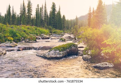 the river Buyba in the mountains Western Saiyan, Siberia, Russia