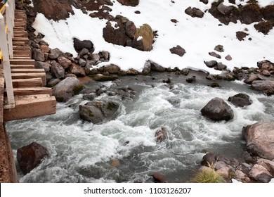 River in Cajon del Maipo. Santiago de Chile