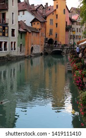 River called Thiou in downtown of Annecy in France and an old bridge