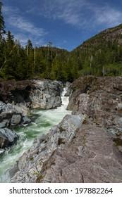 River at Canada, small waterfall.