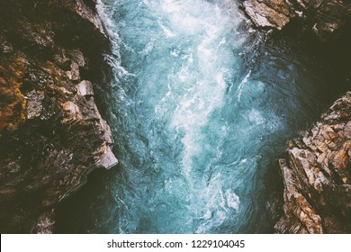 River canyon landscape in Sweden Abisko national park travel aerial view wilderness nature moody scenery