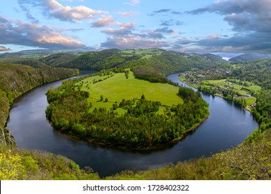 River canyon Vltava.  Horseshoe bend, Vltava river, Czech republic. Beautiful landscape with river. Solenice lookout.Tourism in Czech republic.  Outdoor and nature. Europe.