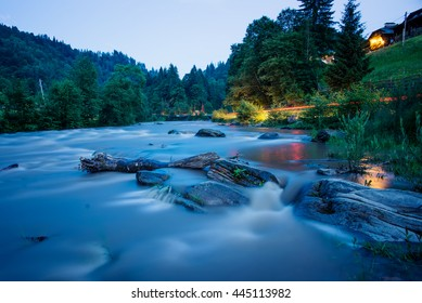 river in Carpathian mountains at night