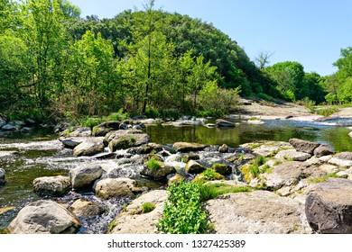 River cascade landscape. Europe. Ukraine.