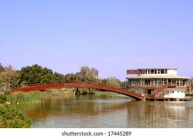 river with city bridge