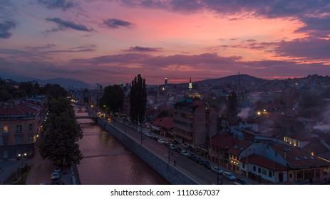 river and city of Sarajevo in dusk