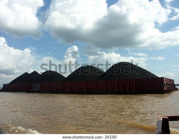 River Coal transportation. using barge/scow.