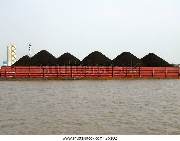 River Coal transportation, using barge/scow.