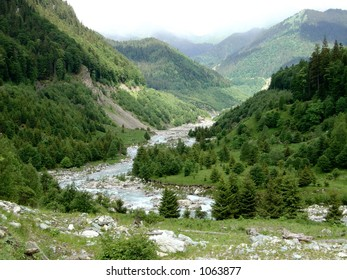 River coming from mountains in Parang-Romania reservation