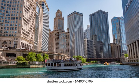 River cruise on Chicago river - CHICAGO, ILLINOIS - JUNE 11, 2019