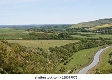 River Cuckmere  meanders through East Sussex Downs