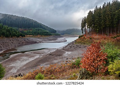 The river dam Goldistal at morning time in Thuringia, Germany