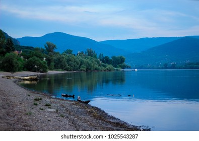 River Danube, blue skay and beach with sand