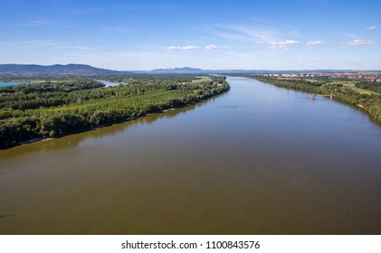 River Danube by Budapest, Hungary, seen from above Megyeri Bridge