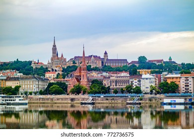River Danube, Church of St. Matthias and Fisherman's Bastion shore view's of the Danube in Budapest, Hungary.