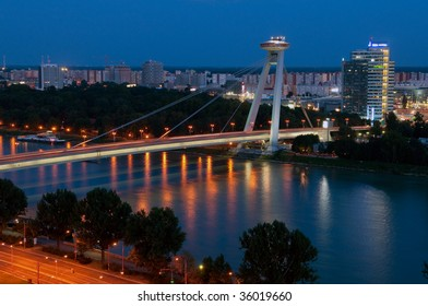 river Danube and New bridge seen from the Bratislava castle, Slovakia
