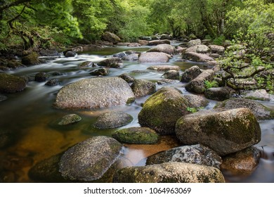 River Dart at Dartmeet Dartmoor with large stones across the river.